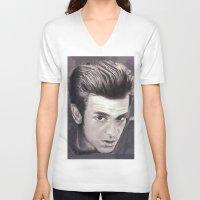 garfield V-neck T-shirts featuring Garfield smoulder by Lauren Elena