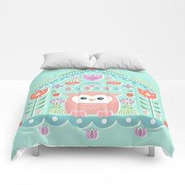 Scandinavian Folk Style Owl Bird House Comforters
