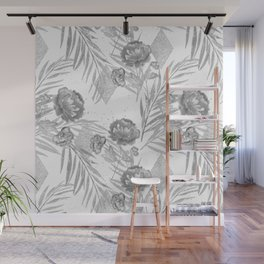 Gray flowers on a white background. Wall Mural