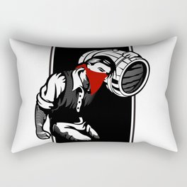 Thief illustration with wine cask Rectangular Pillow