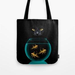 Black Cat Goldfish Tote Bag