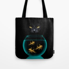Black Cat Goldfish Tote Bag