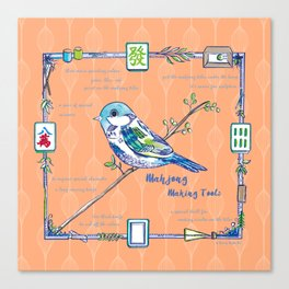 Sparrow Mahjong in Orange Canvas Print