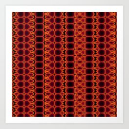 Red and Orange Pattern Stripes Art Print