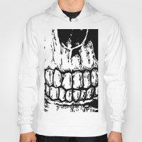 teeth Hoodies featuring Teeth by Mike Hague Prints