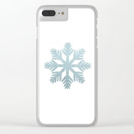 Blue Glitter Snowflake Clear iPhone Case