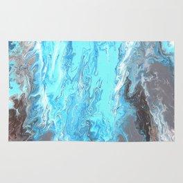 Fluid Acrylic Blue Abstract Painting - When it Rains Rug
