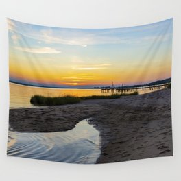 Private Beach & Pier at Sunset Wall Tapestry