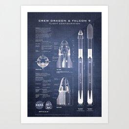 NASA SpaceX Crew Dragon Spacecraft & Falcon 9 Rocket Blueprint in High Resolution (dark blue) Art Print