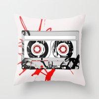 tape Throw Pillows featuring tape by Sean McFadyen