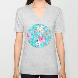 Pretty Pastel Hawaiian Hibiscus Print Unisex V-Neck