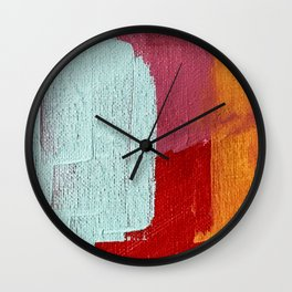 Desert Daydreams [2]: a vibrant, colorful abstract acrylic piece in pink, red, orange, and blue Wall Clock