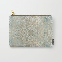 Mandala Flower, Teal and Gold, Floral Prints Carry-All Pouch