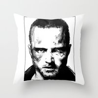 jesse pinkman Throw Pillows featuring Breaking Bad - Jesse Pinkman by Aaron Campbell