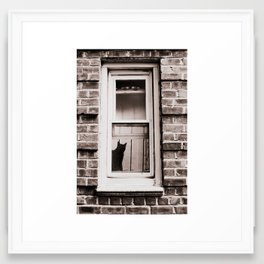 Nosey Rosa the Cat, Cat Silhouette Framed Art Print
