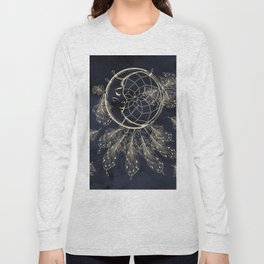 GOLDEN MOON IN DARK NIGHT Long Sleeve T-shirt
