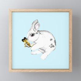 Some'bunny' Loves You (Single Bunny/Blue) Framed Mini Art Print