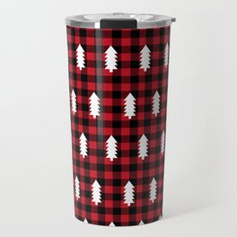 Camping Forest cabin chalet plaid red black and white minimal hipster gifts for festive christmas Travel Mug