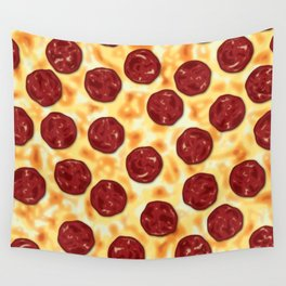 Pepperoni Pizza Pattern Wall Tapestry