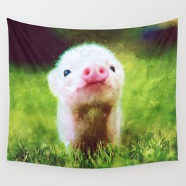 CUTE LITTLE BABY PIG PIGLET Wall Tapestry