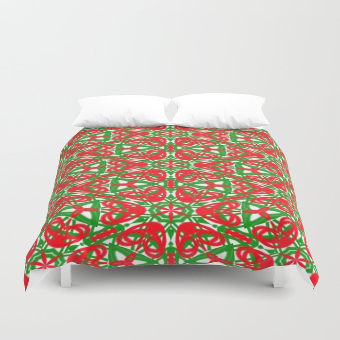 Red, Green and White Kaleidoscope 3375 Duvet Cover