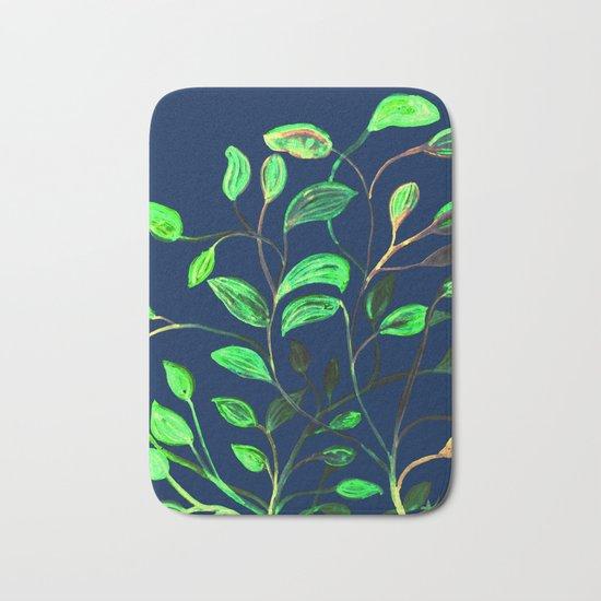 Greenery Spring leaves on Navy Blue Bath Mat