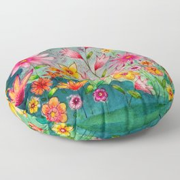 Wild flowers watercolor painting whimsical art Floor Pillow