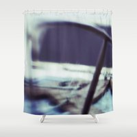 jaws Shower Curtains featuring JAWS by neutral density