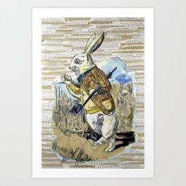 White Rabbit Alice in Wonderland Collage Art Art Print
