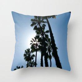 Blue Palm Throw Pillow