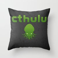 cthulu Throw Pillows featuring Cthulhu? by XANTHIER