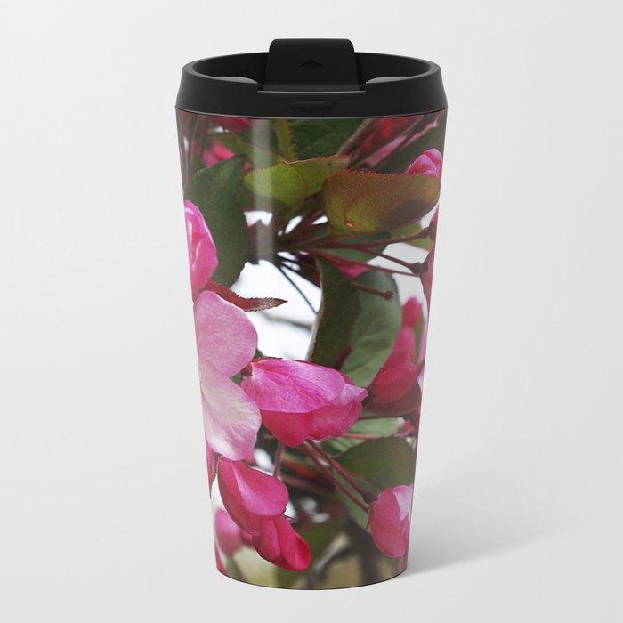 Spring blossoms - Strawberry Parfait Crabapple Metal Travel Mug