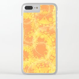 Spring pastels gently orange and yellow circles and ellipses with the image of abstract flowers. Clear iPhone Case
