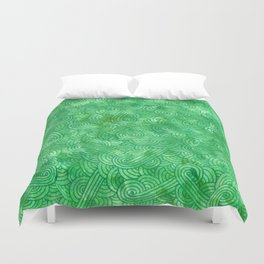Bright green swirls doodles Duvet Cover