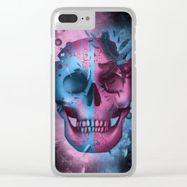 skull black art decor Clear iPhone Case