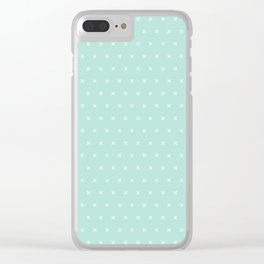 Aqua blue and White cross sign pattern Clear iPhone Case