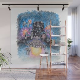 'The Empire Strikes Back' montage - Drawing in colour pencil Wall Mural