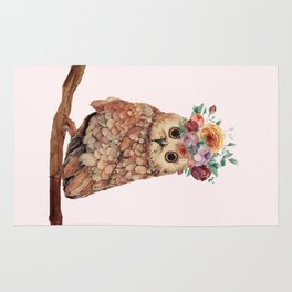 Owl with Flowers Rug