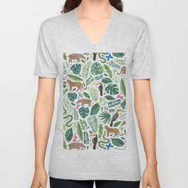 Jungle/Tropical Pattern Unisex V-Neck