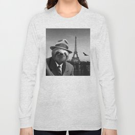 Gentleman Sloth in Paris Long Sleeve T-shirt