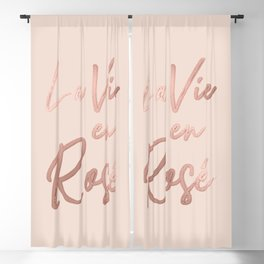 La Vie en Rose French Quote Rose Gold Pink Blackout Curtain