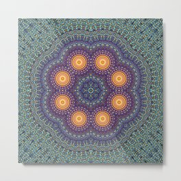 8 Suns Circular Bohemian Geometric Thread Weave Pattern \\ Yellow Green Blue Purple Color Scheme Metal Print