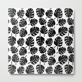 MONSTERA LEAVES - BLACK ON WHITE Metal Print