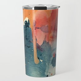 Pour Some Sugar on Me: a colorful mixed media abstract in pinks blues orange and purple Travel Mug