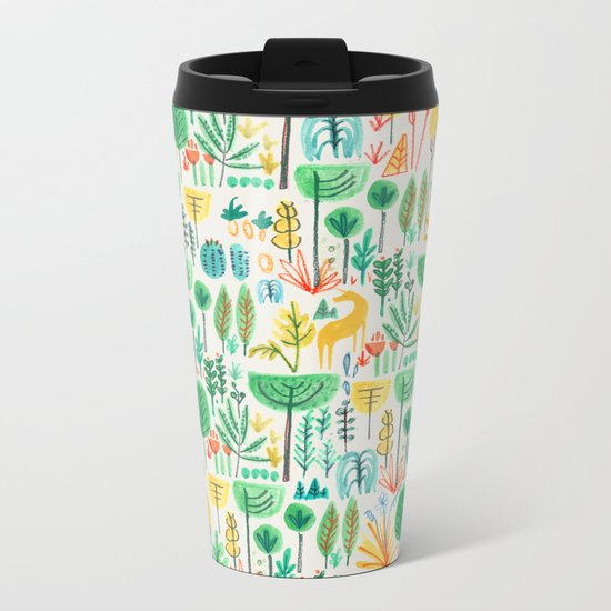 Jungle life with golden unicorn Metal Travel Mug