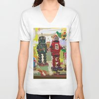 robots V-neck T-shirts featuring Robots by Five Ate Five Studios