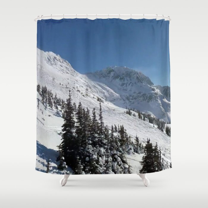 Mountains color palette of white-black-blue Shower Curtain