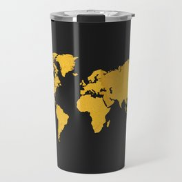 Golden World Map - Black Background Travel Mug