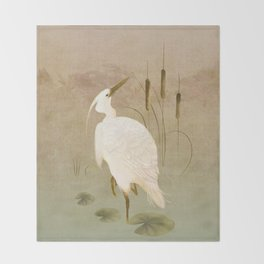 White Heron in Bulrushes Throw Blanket