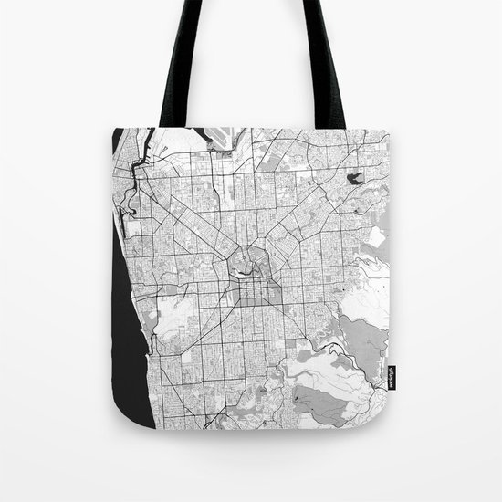 Adelaide Map Gray Tote Bag